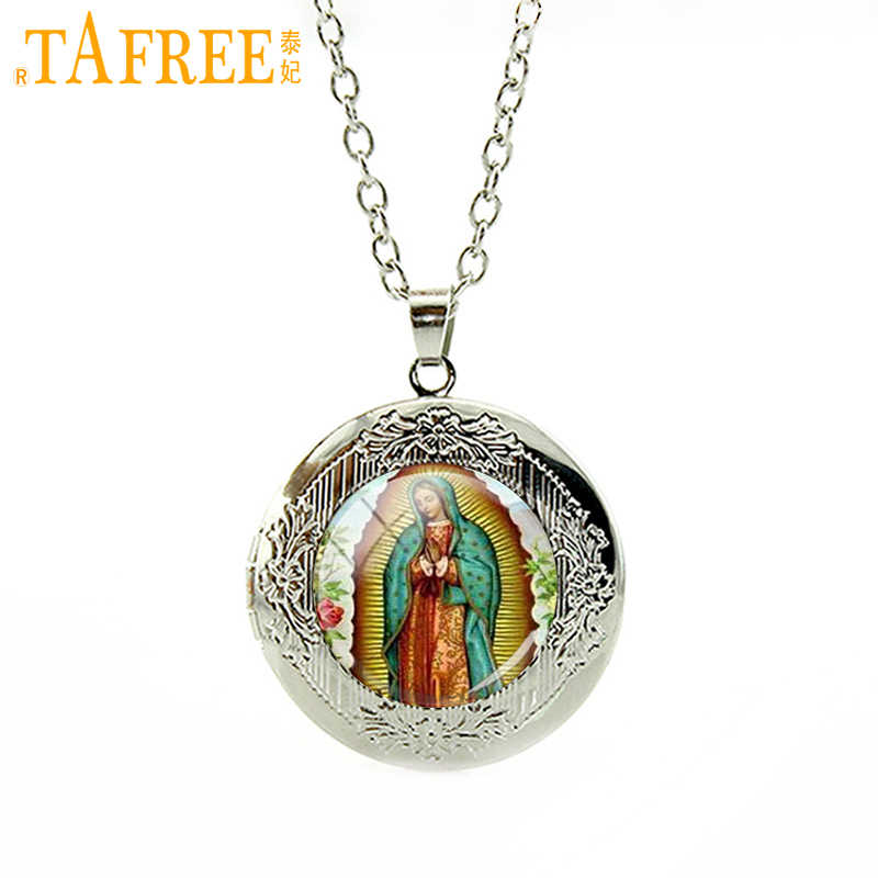 TAFREE Our Lady of Guadalupe locket Necklace Virgin Mary Religious Catholic Glass Pendant jewelry accessory gift for men VM34