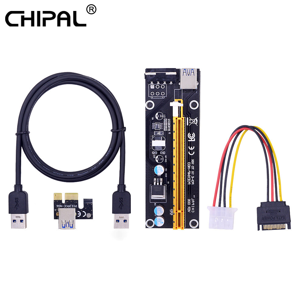 Chipal Pci E Riser Card Express 1x To 16x Extender Converter Molex Sata Wiring Diagram 4pin Power Cord 1m Usb 30 Cable For Btc Ltc In Computer Cables Connectors