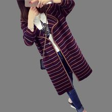 2016 Autumn Winter Latest Fashion Women Knitting Coat Elegant Temperament Loose Stripe Medium long Sweater Cardigan