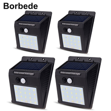 Borbede 20 LED Solar wall light PIR sensor CDS Night Outdoor Waterproof Energy Saving Street Yard Path Home Garden Security Lamp