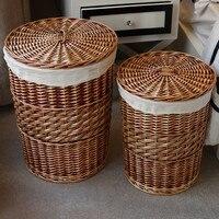Home Storage Organization Handmade Woven Wicker Cattail Laundry Hamper Storage Baskets With Lid Panier De Rangement