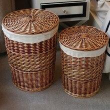 home storage handmade woven wicker cattail laundry hamper storage baskets with lid panier de rangement organizador