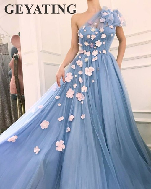 5b196a9548731 Elegant One Shoulder Sky Blue Floral Prom Dresses Long 2019 New 3D Flowers  Tulle A-line Sweet Girls 16 Dress Evening Party Gowns
