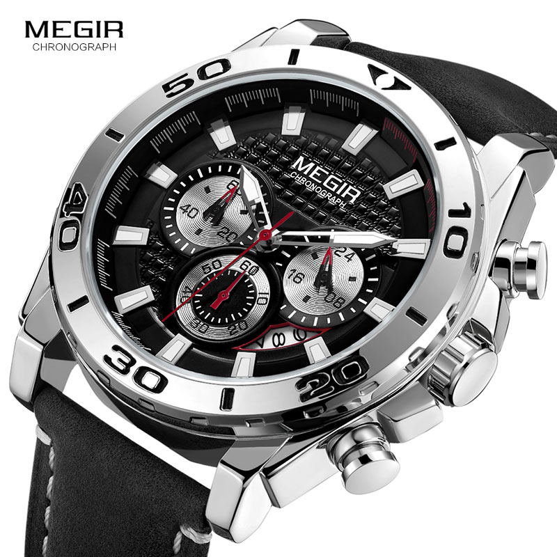 Image 3 - MEGIR Mens Army Sports Chronograph Quartz Watches Leather Strap Luminous Waterproof Wristwatch Man Relogios Clock 2094 SilverQuartz Watches   -