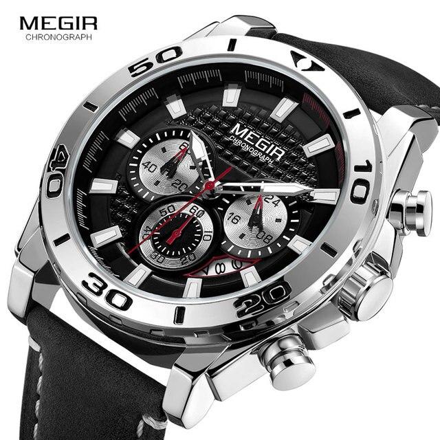MEGIR Men's Army Sports Chronograph Quartz Watches Leather Strap Luminous Waterproof Wristwatch Man Relogios Clock 2094 Silver