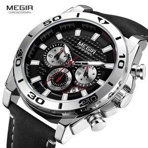 Image 3 - Megir Mannen Leger Sport Chronograaf Quartz Horloges Lederen Band Lichtgevende Waterdicht Horloge Man Relogios Klok 2094 Zilver