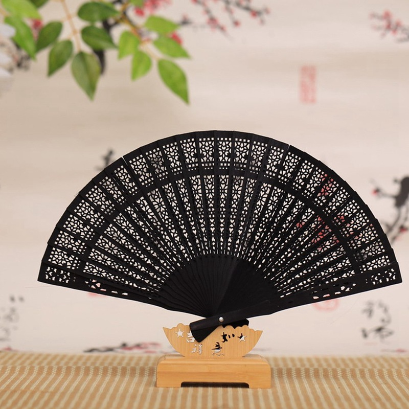 Hollow Wooden Folding Chinese Vintage Flower Pattern Hand Fan Gift Hand Held For Women Wedding Dancing Party  Black Fans