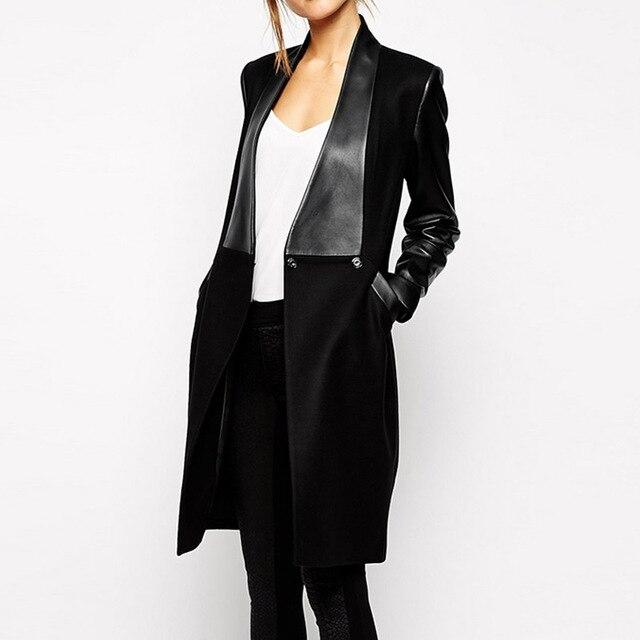 2016 Зимняя Мода Новый Длинное Пальто Элегантный Продажа Черный Кожа PU Карманы Шерстяные Лоскутное Женские Пальто abrigos mujer