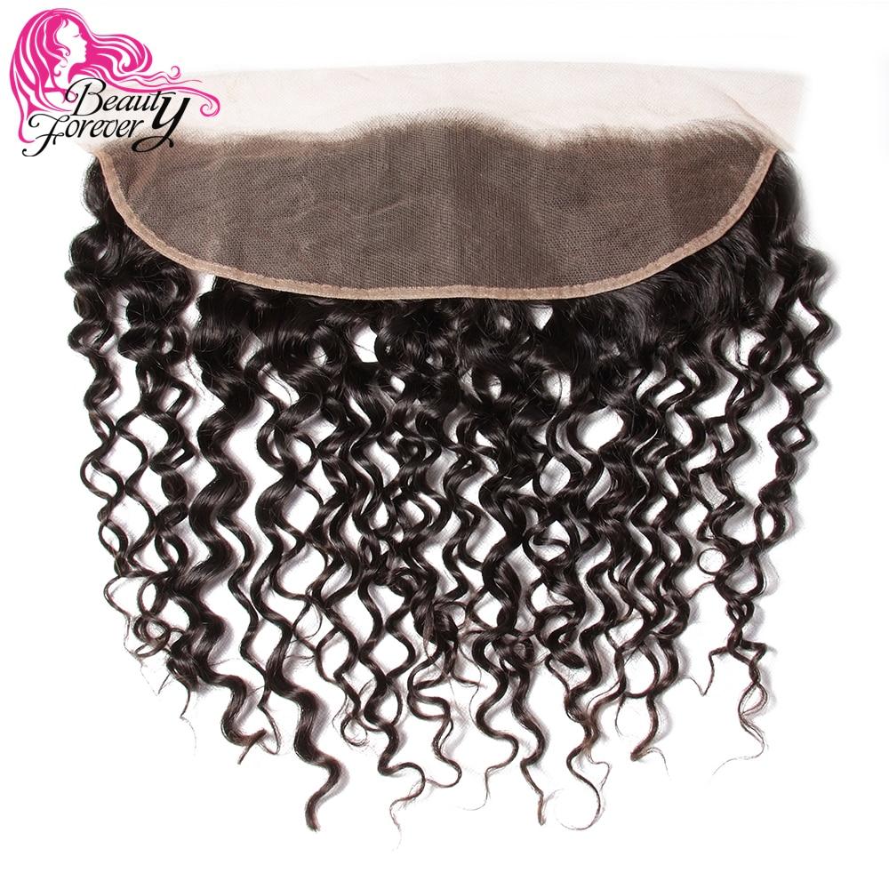 美容フォーエバーカーリーマレーシアの毛のレースフロント閉鎖 13*4 無料一部耳に耳の Remy 人間の毛髪の閉鎖自然な色  グループ上の ヘアエクステンション & ウィッグ からの クロージャー の中 1