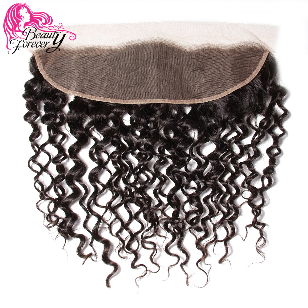 Beauty Forever Curly Malaysian Hair Lace Frontal Closure 13*4 Free Part Ear to Ear Remy Human Hair Closures Natural Color