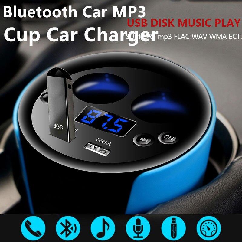2 USB Cup car charger multi function display voltage 12v 24V car cigarette lighter adapter handsfree