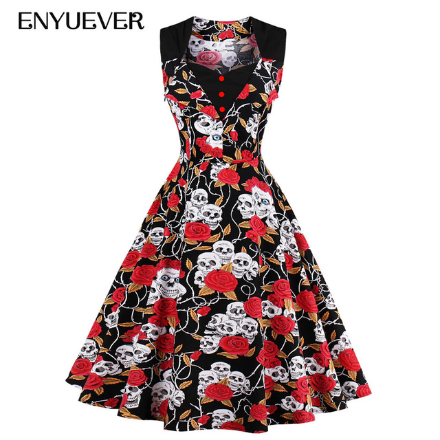 Enyuever 2018 Halloween Dress Plus Size Floral Print Skull Robe Pin Up 50s  Swing Gothic Party Vestidos Rockabilly Vintage Dress 272a32a9f025