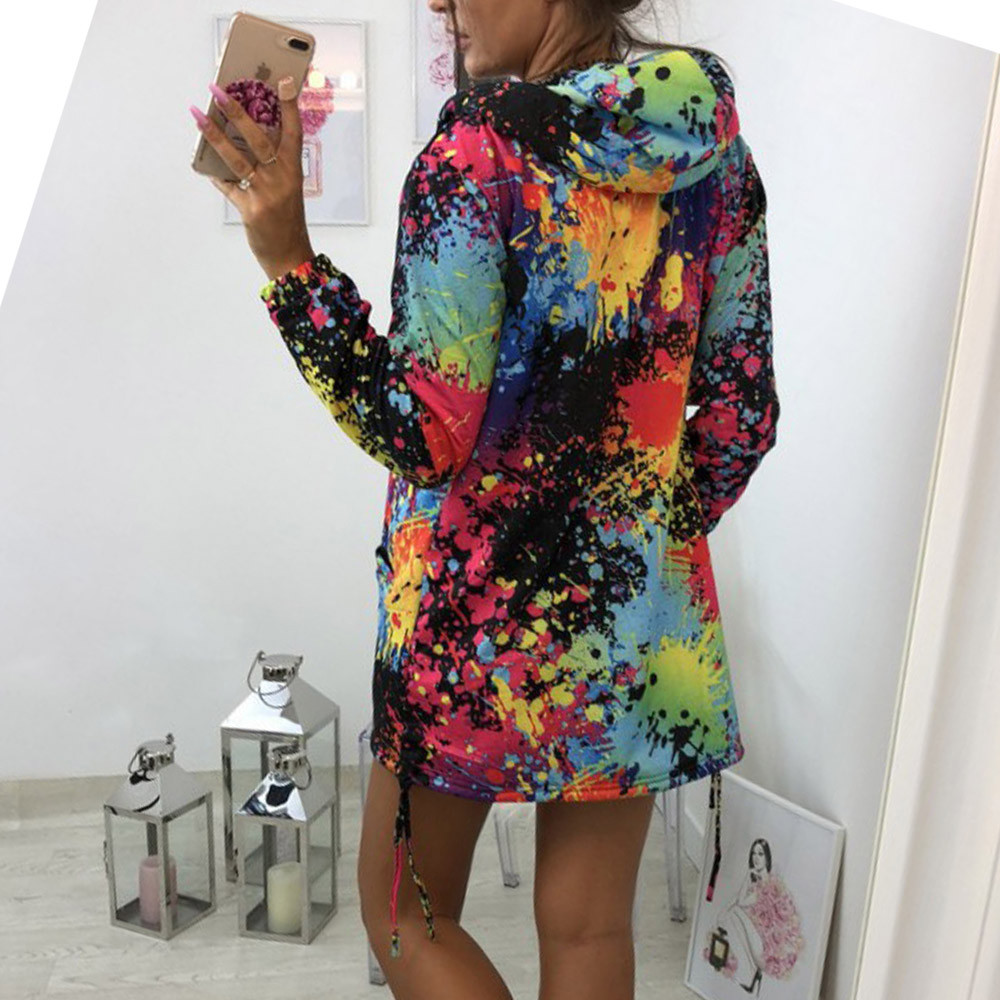 Autumn Jackets Fashion Womens Tie dyeing Print Coat Outwear Sweatshirt Hooded Jacket Female Casual Pockets Overcoat#3s