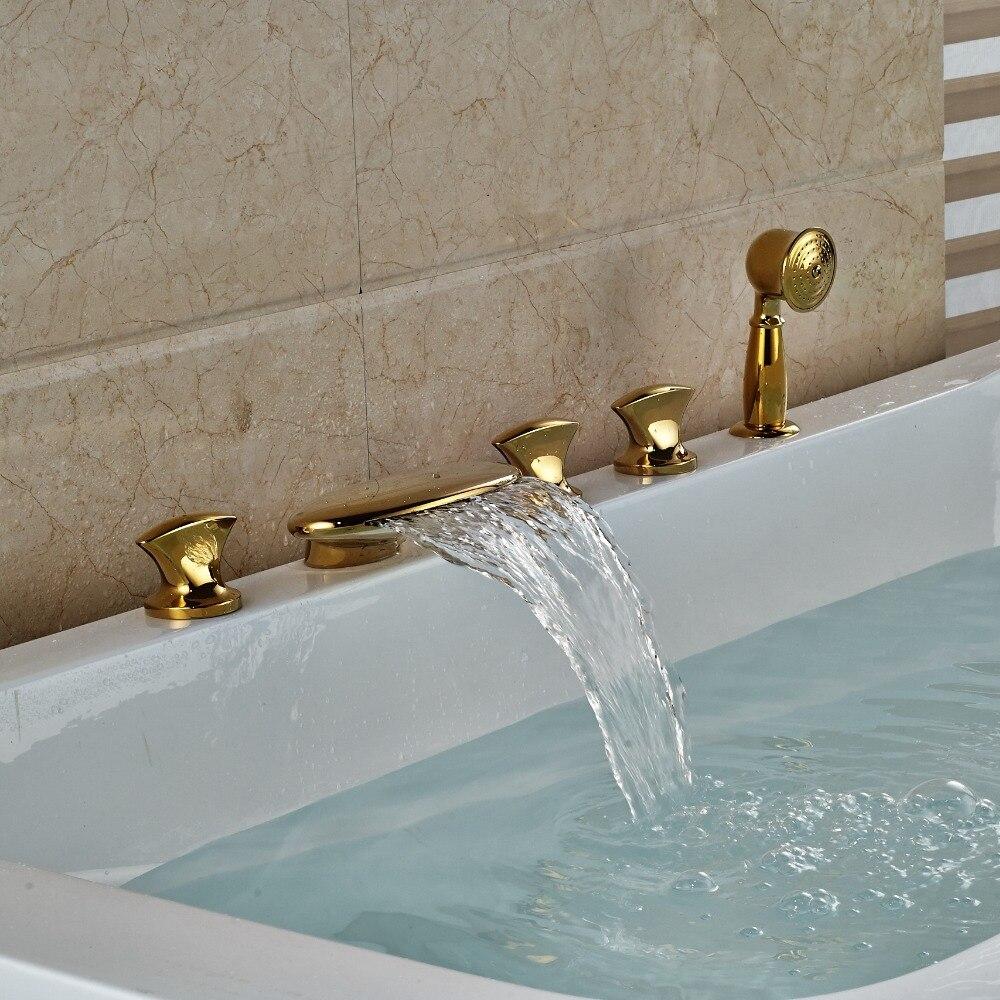 3 Handles Waterfall Bathroom Tub Faucet 5 Holes Hand Shower Sink Mixer Tap