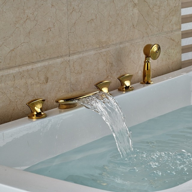 3 Handles Waterfall Bathroom Tub Faucet 5 Holes Hand Shower Sink ...