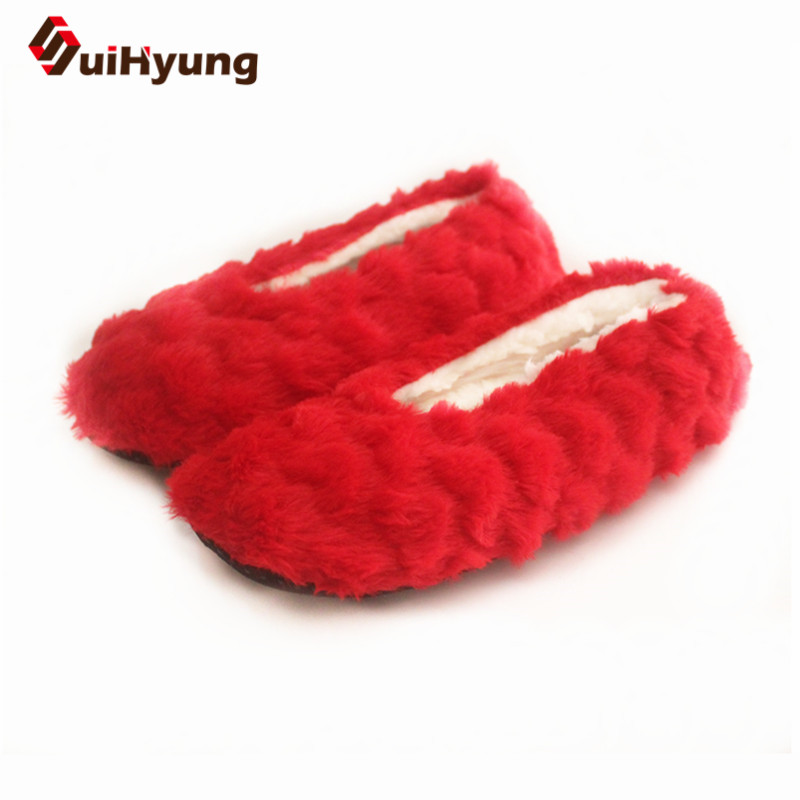 цена на Suihyung Women Winter Warm Indoor Shoes Faux Fur House Floor Shoes Female Home Plush Slippers Slip On Soft Bottom Cotton Shoes