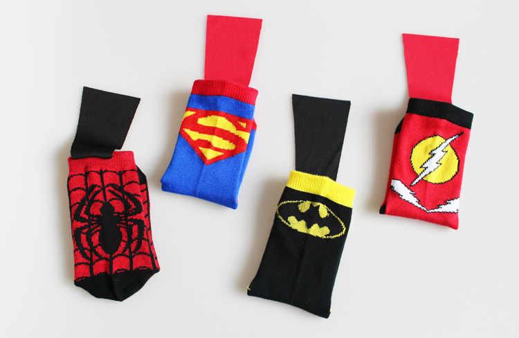 子供スーパーマンバットマンスパイフラッシュ衣装ソックスボーイ綿スポーツショートソックスと岬