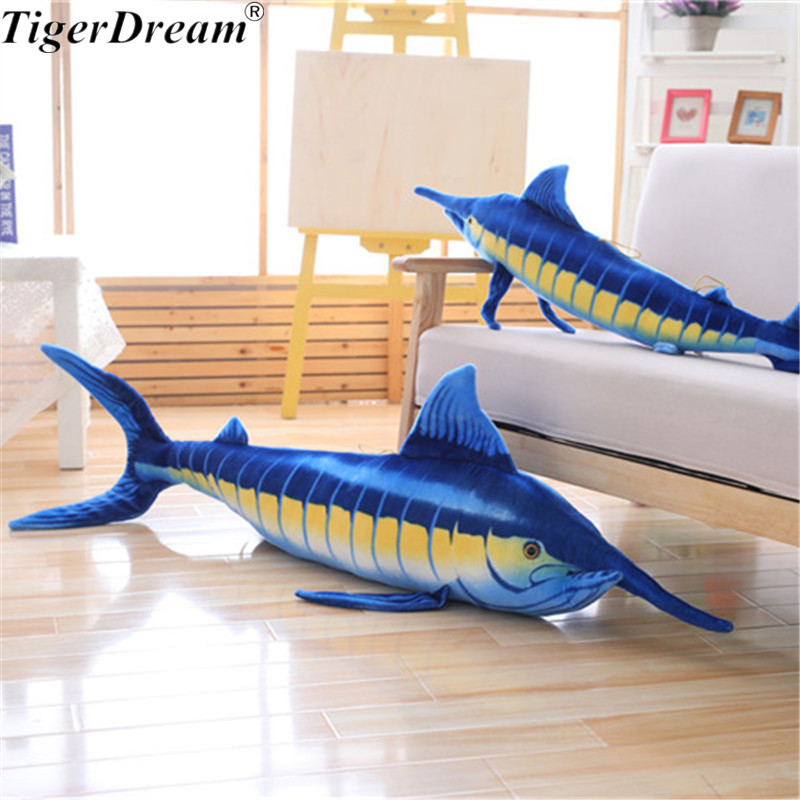 Une pièce en coton PP doux farci gros thon requin jouets en peluche de haute qualité coussins de poisson doux oreillers de couchage 2 couleurs