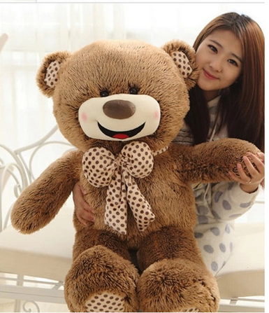 lovely plush smile teddy bear toy bow Hedgehog teddy bear doll gift about 100cm 0157 new plush teddy bear toy lovely brown heart and bow bear doll gift about 100cm