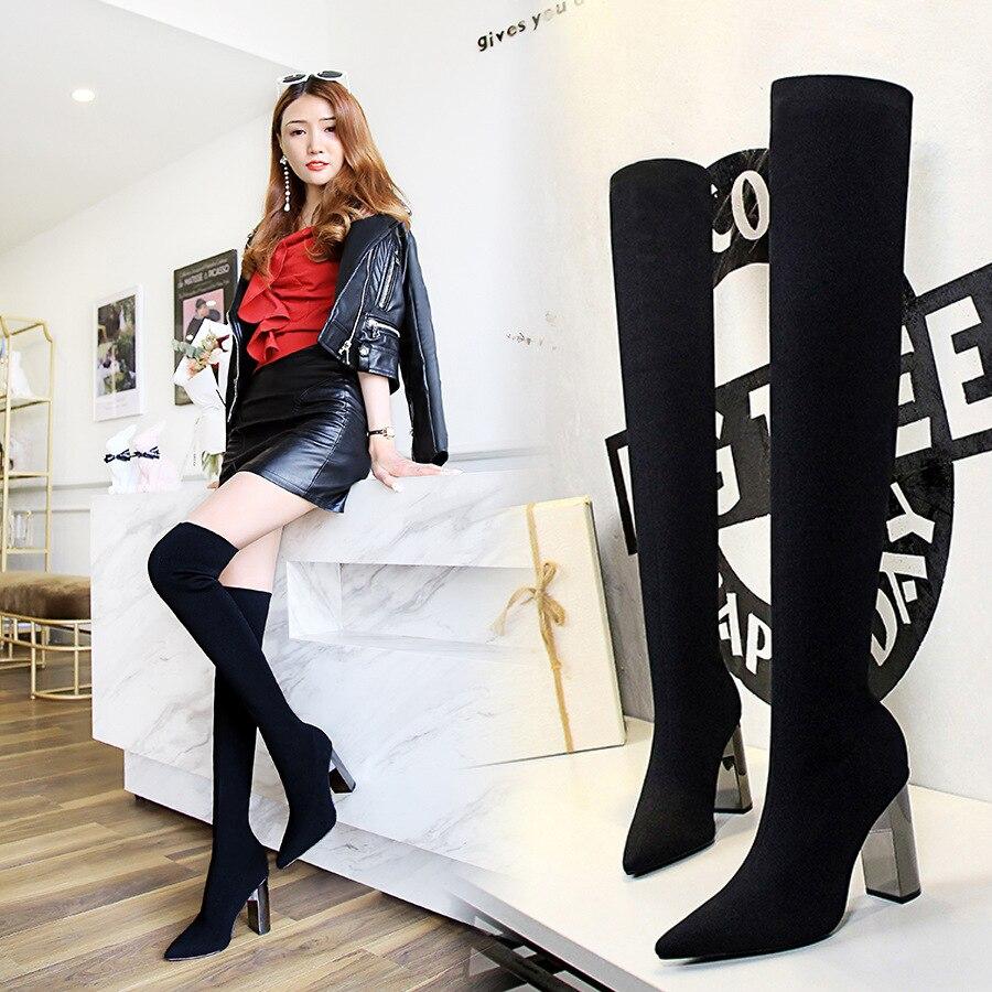 2018 Damen Schuhe Quadrat Niedrigen Ferse Frauen Über Das Knie Stiefel Peeling Schwarz Spitz Frau Motorrad Stiefel Größe 34 -40 Hohe QualitäT Und Preiswert