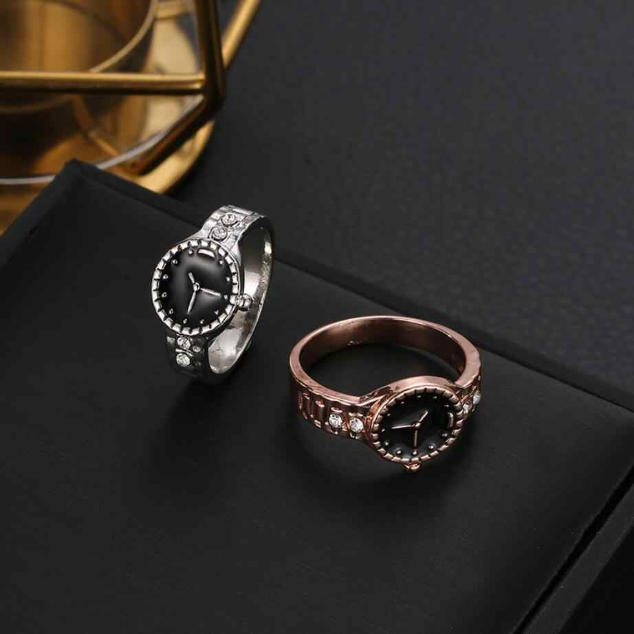 Hot New Silver Rose Gold นาฬิกาสไตล์แหวนเครื่องประดับเคลือบสีดำแฟชั่นเครื่องประดับงานแต่งงานแหวน Anel Feminino drop เรือ
