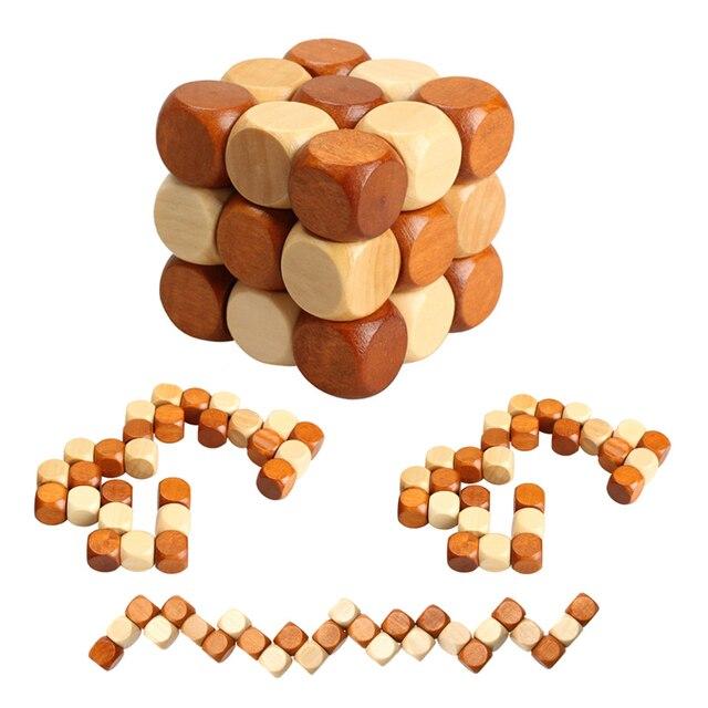 Crianças Quebra-cabeças De Madeira Brinquedos do Cubo Dragão Estilo Cauda Borracha Madeira Bloqueio Puzzle Brinquedos para Crianças Brinquedos Educativos Brinquedos de Inteligência Desenvolver