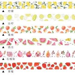 Милая декоративная клейкая лента Kawaii Клубника Лимон фрукты васи лента креативная маскирующая лента для украшения молочного скрапбукинга