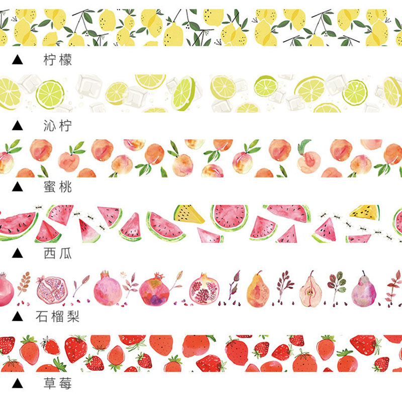 Cute Kawaii Strawberry Llemon Fruits Decorative Adhesive Tape Washi Tape Creative Masking Tape For Decoration Dairy Scrapbooking coloffice creative stationery bronzing series sweet memoria washi tape 40mmx5m for you adhesive tape scrapbooking decorative