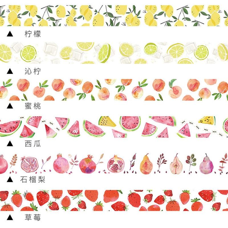 Cute Kawaii Strawberry Llemon Fruits Decorative Adhesive Tape Washi Tape Creative Masking Tape For Decoration Dairy Scrapbooking