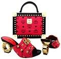 Moda Sapatos Italianos Combinando Com Saco conjunto De Alta Qualidade Itália estilo sapatos de salto alto para senhora! GMF715-3
