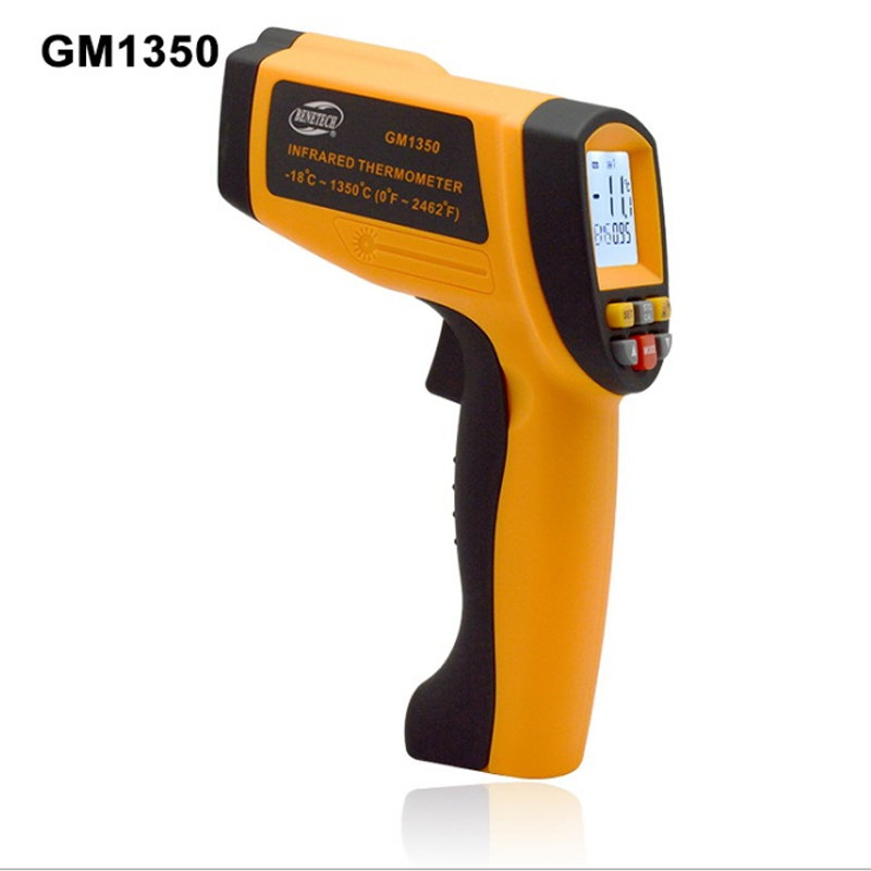 GM1350 Non-Contact 50:1 LCD display IR Infrared thermometer Gun Thermometer -18~1350C (0~2462F) 0.1~1.00 adjustable digital infrared ir thermometer laser temperature gun non contact 50 1 with lcd backlight gm1350 18 1350c 50 1
