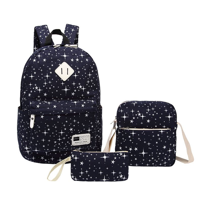 3Pcs/Sets Korean Casual Women Backpacks Canvas Book Bags Preppy Style School Bags for Teenage Girls Vintage Stylish Ladies Bag