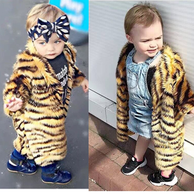 Winter Long Fur Coat for boy and girl Kid Tiger Fur Coat Children Fur Jackets Girls Long Sleeve Fur Clothes Kid's Outwear