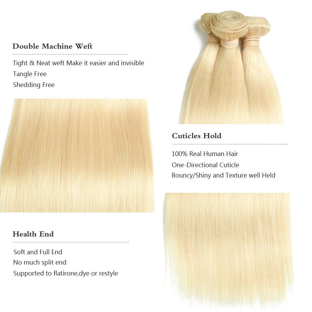 Sapphire 613 Blonde Brazilian Remy Hair Straight 2/3 Bundles With - Hair Salon Supply - Photo 4