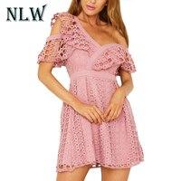 NLW 핑크 여성 어깨 하나 드레스 프릴 짧은 소매 섹시한 드레스 V 넥 레이스 화이트 드레스 파티 클럽 높은 허리 미니 Vestidos