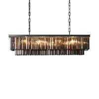 RH Crystal Chandelier K9 LED Chandeliers Dining Room Rectangular Lighting Lustre De Cord Suspension Lamps Hanging
