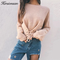 Hirsionsan Autumn Lace Up Sweater Women 2017 New Knitted Women Sweaters And Pullovers Solid Jumper Adjust