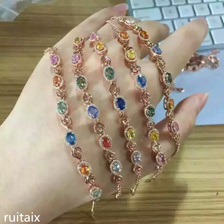 KJJEAXCMY fine jewelry S925 silver inlay natural color gemstone blue tourmaline tanzanite multi-color bracelet crystal female je shiying c04349 fashion elephant multilayer tourmaline natural crystal bracelet blue