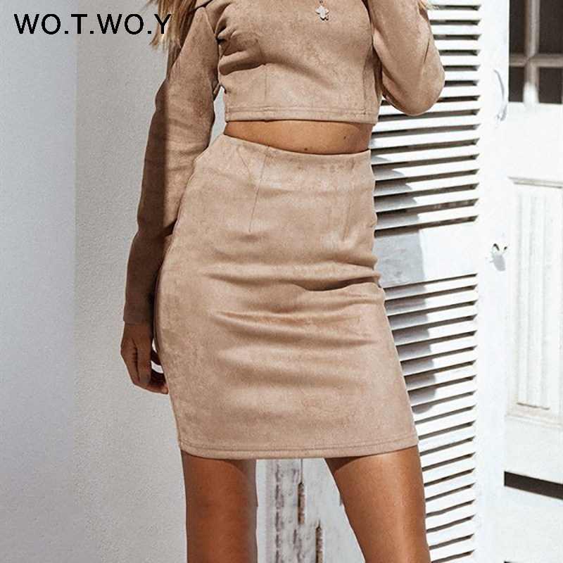 WOTWOY High Waist Suede Leather Skirt Women Summer Office Lady Mini Skirts Women 2018 High Quality Slim Pencil Skirt With Zipper