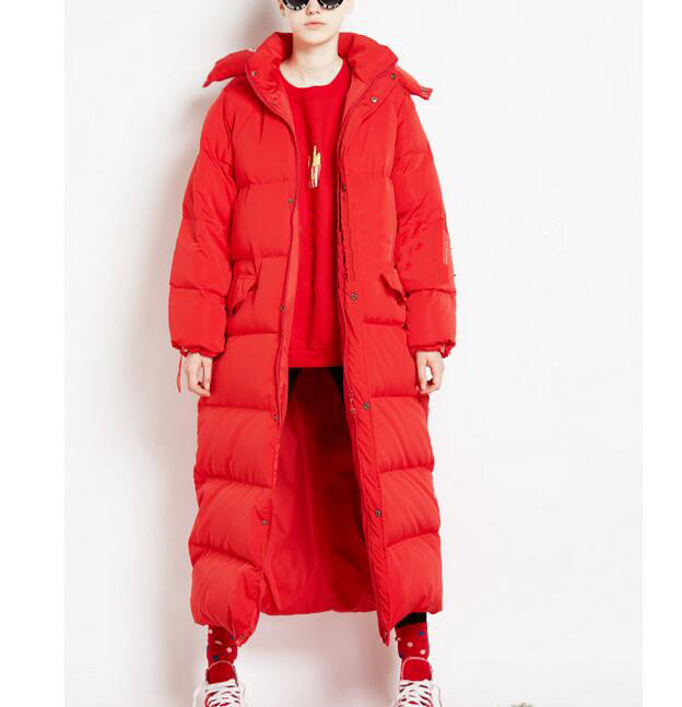 Oversize X-Long   Down     Coat   Red Women Winter Duck   Down   Jacket Hooded Women Winter   Coat   Custom Made Any Size