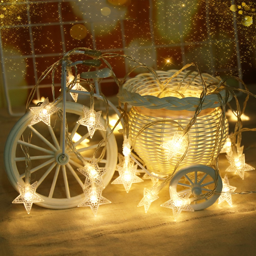 LED String Light 1M 10 Leds Stars Garland Holiday Lights For Christmas Tree Ramadan Lantern Princess Bedroom Decoration JQ