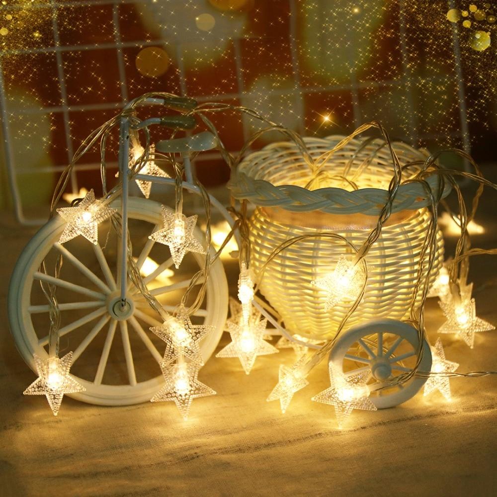 LED String Light 1M 10 Leds Stars Garland Holiday Lights For Christmas Tree Ramadan Lantern Princess Bedroom Decoration JQ
