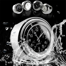 7/8″ 1″ Waterproof Motorcycle White Handlebar Mount Dial Clock Watch /Temp Thermometer for Harley Yamaha Motor Bike Accessories