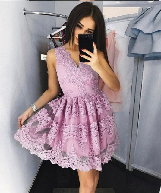 MisShow Dusty Rose Lace V Neck Short Homecoming Dresses 2018 Sleeveless Prom Party Dress Graduation Dress vestido corto