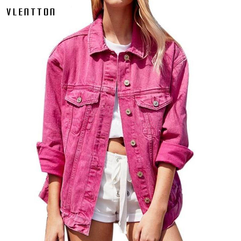 2019 Pink Black Jean Jacket Woman Slim Long sleeve Basic Outerwear Coats Spring autumn Casual Denim Jacket Coat Female Jacket in Jackets from Women 39 s Clothing