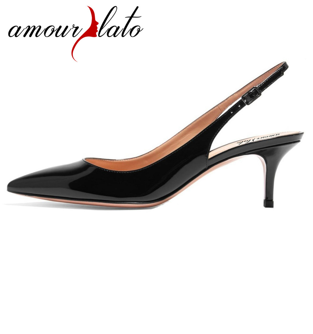 Women's 6.5cm Kitten Heels Pointed Toe Slingback Pumps Middle Heel Closed Toe 2018 Comfortable Fashion Dress Shoes US Size 5-13