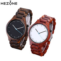 HEZONE Fashion Sandalwood Watch Quartz Wrist Watch Men Fashion Sport Mens Watches Top Brand Luxury Relogio