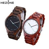HEZONE Fashion Sandalwood Watch Quartz Wrist Watch Men Fashion Sport Mens Watches Top Brand Luxury Relogio