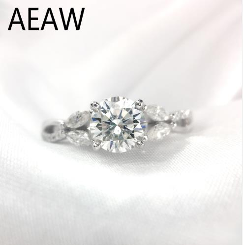 1 Carat ct 6.5mm D color Round Cut Engagement&Wedding Moissanite Diamond Ring Double Halo Ring Genuine 18k White Gold1 Carat ct 6.5mm D color Round Cut Engagement&Wedding Moissanite Diamond Ring Double Halo Ring Genuine 18k White Gold