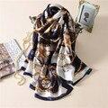 2017 mujeres del verano del resorte bufandas señora soft chales bufanda de seda de la impresión de la manera de las mujeres de Gran tamaño Manta Bufandas Foulard Femme caliente